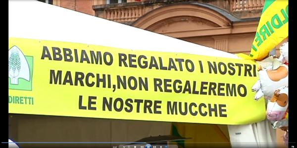 Coldiretti, Bologna 5 marzo 2015: allevatori in piazza per il Parmigiano / IL VIDEO