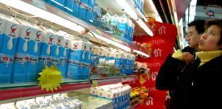 import prodotti caseari in Cina